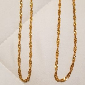 Jewelry - 3 for $20 Set Of 2 Gold Tone Twist Chain Necklaces